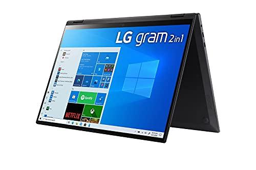 LG gram 16 Zoll Ultralight 2-in-1 Convertible Notebook & Tablet - 1,48kg Intel Core i7 (16GB LPDDR4, 512 GB SSD, 21 h Akku,16:10 WQXGA IPS Display, Thunderbolt 4, Windows 10 Home Plus) - Schwarz