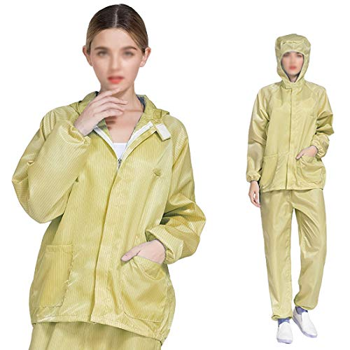 Care, beschermend pak, antistatische kledingpak, split stofband, ademend, wasbaar en herbruikbaar, geel, XL
