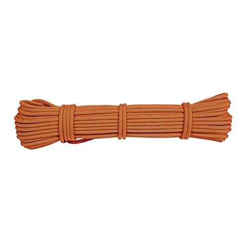 HWhome Exterior Multifunción 6mm Cuerda De Escalada,Cuerda De Nylon De Alta Resistencia,Cinturón De Escalada,Escalada De árboles,Cuerda De Descenso,Naranja Cuerda Auxiliar(10M-100M)(Size:10m)