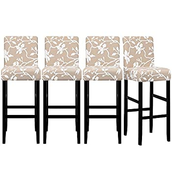 Lellen Jacquard Bar Chair Stool Cover - 4 Pack Stretch Chair Slipcover Pattern for Short Swivel Dining Chair-Counter Height Side,125840