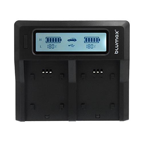 Fomito Caricabatterie FH50 Dual Digital batteria con schermo LCD Compatibile con Sony A230 A330 A290 A380 A390, DSC-HX1 DSC-HX100 DSC-HX200, HDR-TG3 TG1E TG5 TG7