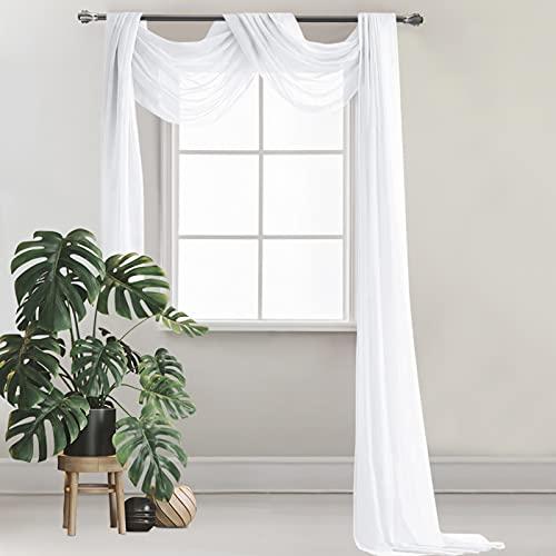 Cortina cruzada para decoración de manos libres, cortina para cortinas cruzadas, color blanco, decoración de boda, 130 ∗ 550 cm