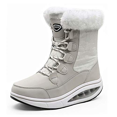 binkasen Women Snow Boots Warm Lace-up Mid-Calf Boots Winter Walking Shoes Cotton Lined Comfortable Outdoor Booties Beige