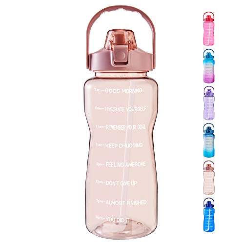 EYQ Half Gallon/64 oz Water Bottle with Time Marker, Carry Strap and Motivational Quote, Leak-Proof Tritan BPA-Free, Ensure You Drink Enough Water for Fitness, Gym, Camp, Sports (Clear Rose pink)