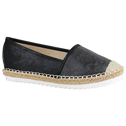 stiefelparadies Damen Espadrilles Bast Slipper Glitzer Sommer Schuhe 155369 Schwarz Brito 37 Flandell
