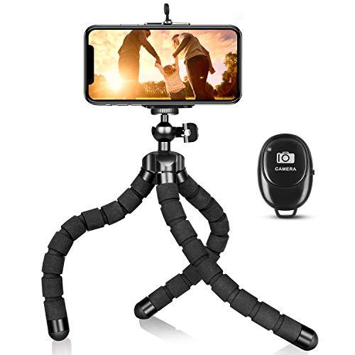 Trípode de teléfono, portátil y flexible, ajustable, soporte para teléfono celular, con mando a distancia y clip universal, compatible con iPhone Android teléfono cámara digital compacta
