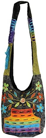 Rising International Stone Washed Flower Patch Hobo Bag Multi Color product image