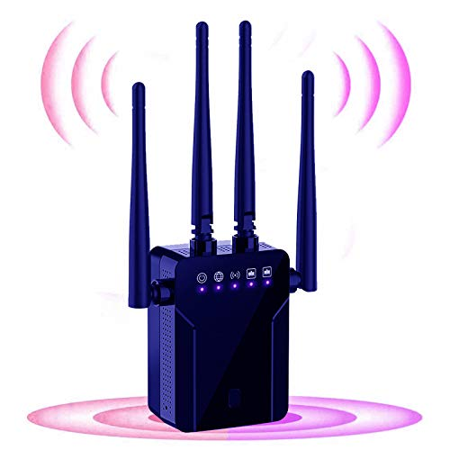 WiFi Range Extender, 1200Mbps Wireless Signal Repeater Booster, Dual Band 2.4G and 5G Expander, 4 Antennas 360° Full Coverage, Extend WiFi Signal to Smart Home & Alexa Devices(KW1203M05)