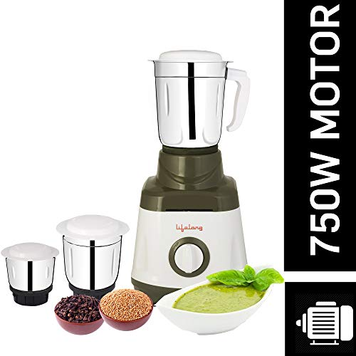 Lifelong LLMG74 750 Watt Mixer Grinder with 3 Jars (White and Grey)