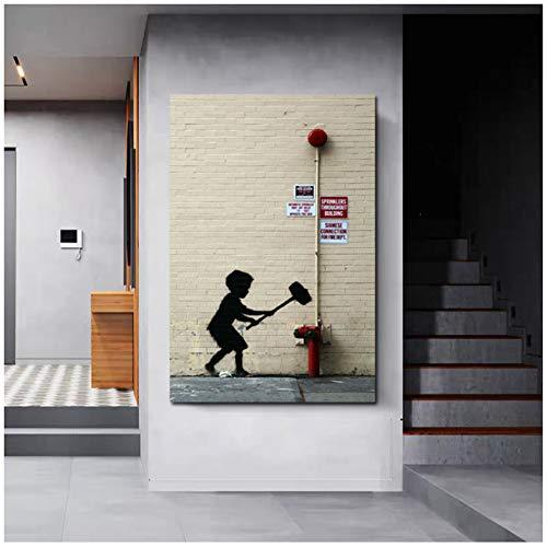 ASLKUYT Klassische Street Art mit einem Hammer Kind Poster BildWandkunst Leinwand Malerei Einzigartiges Geschenk für Home Decoration Artwork-24x32 IN No Frame