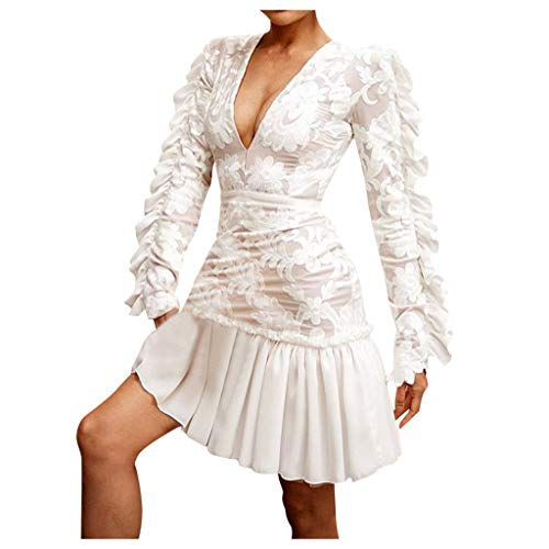 Gemira White Lace Dress for Women Long Sleeve Romper Deep V Neck...