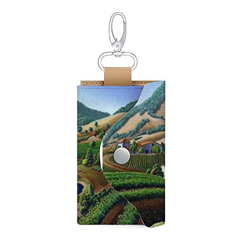 Funda para llave de piel con diseño de viñedos y paisajes de vinos de California, con llavero y tarjetero, cartera para dinero, 6 llaves, organizador