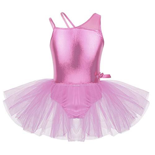 Freebily Tutú Vestido Danza Ballet Niñas Infántil Maillots de Tirantes Un Hombro Leotardo Brillo de Baile Gimnasia de Actuación Niñas Princesas Rosa 10 Años
