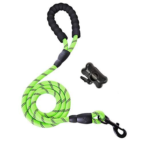 Litthing Correa para el Perro Nylon Ajustable Negro sólido Reflectante 150 cm para Perros Grandes o medianos Adecuado para Correr Senderismo Correr(Verde A+)