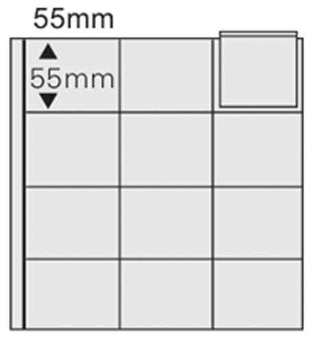 SAFE 812 COIN COMBI Ergänzungsblatt Münzhüllen - Für 12 Münzen bis 50 mm + schwarzen Zwischenblättern ------- Ideal für 5 DM PP in Blisterfolie