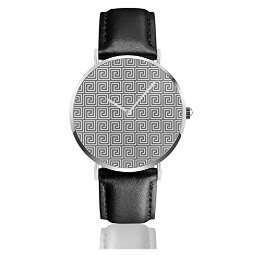 Griechische Key Shades Of Grey Grey Uhr Quarzwerk Wasserdichtes Leder Uhrenarmband für Männer Frauen Simple Business Casual Watch