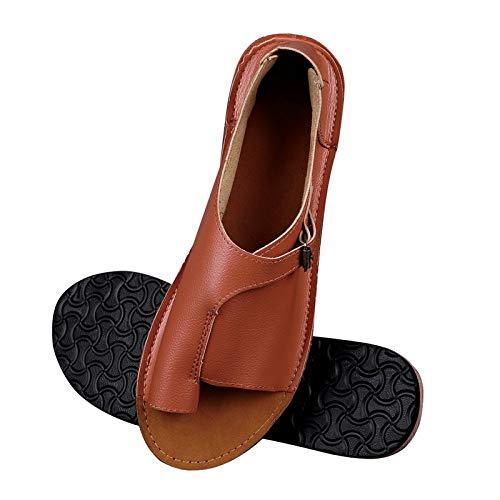LWYY Sandalias De Mujer,Marrón Zapatos De Mujer Sandalias De Mujer De Cuero De Imitación Suave Sandalias Planas Femeninas Zapatos De Playa Ocasionales De Verano Hebilla Femenina,37