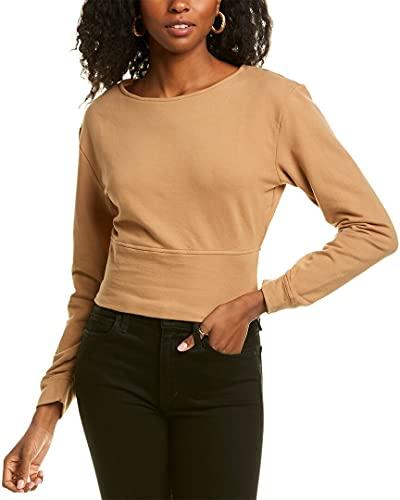 KENDALL + KYLIE Damen Sweatshirt mit Perlen-Verzierung und Cutout am Rücken - Amazon Exklusiv, Chai, S
