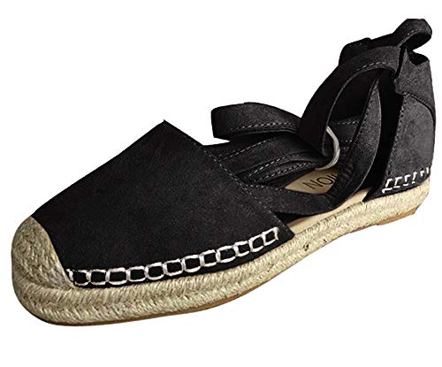 Damen Espadrilles mit Bändern zum Schnüren, Klassische Flache Sandalen Sommer Strand Elegante Sandaletten Schöne Sommerschuhe Celucke (Schwarz, EU39)