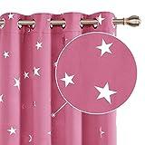 Deconovo Cortinas Termicas Aislantes Dormitorio Moderno Decoración para Ventanas Habitacion Moderna Infantiles Estrella Plateada 117 x 229 cm Rosa