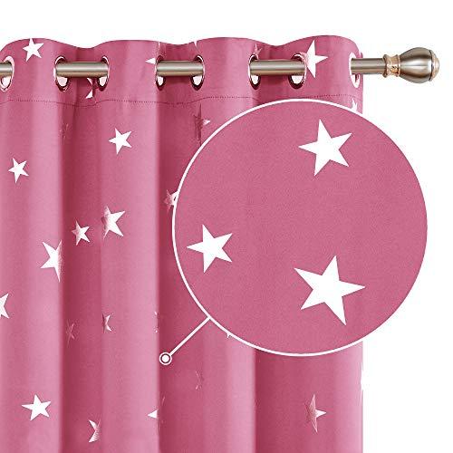 Deconovo Star Blackout gardiner rosa barn stjärnor folie tryckt termisk isolerad ögla mörkläggningsgardiner för barnkammare 100 x 130 cm 1 par