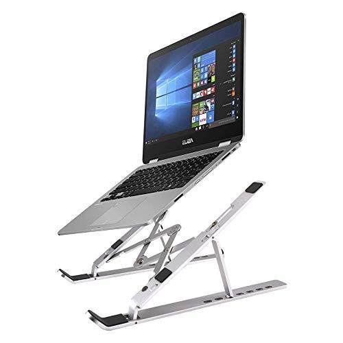 Soporte para computadora portátil Elevador para computadora portátil plegable, Elevador de soporte para computadora para escritorio con ganchos protectores, Escritorio ergonómico para regazo, Bandej