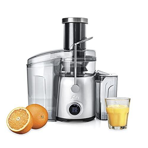 Solis Juice Fountain Compact 8451 Spremiagrumi Elettrico - Centrifuga Frutta Verdura - Potente Frullatore di Succhi di Frutta e Zuppiera - 4 Livelli di Velocità - Acciaio Inossidabile