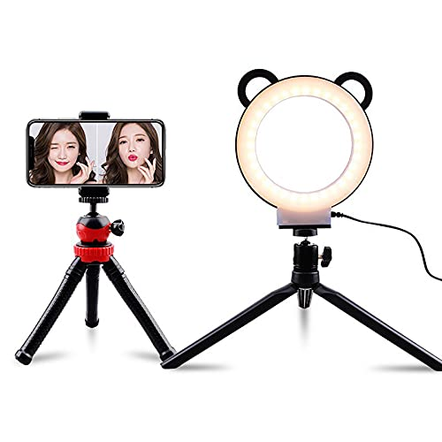 Mothinessto Anillo de luz 3 Colores 10 Brillos, Anillo de luz LED con trípode y Soporte para teléfono, Anillo de luz para Selfies, Maquillaje y Videos de Youtube,Kit