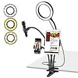 MoKo Soporte de Luz LED de Anillo de Fotográfica para Youtube Live, Soporte Lámpara Ajustable de Escritorio con Clip de Micrófono de Teléfono/Tableta para Selfie Maquillaje Volg y Lectura - Negro
