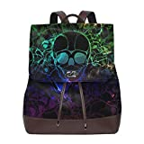 Flyup Women's Leather Backpack Starry Graffiti Skull School Bag Elegant Casual Daypack Travel Shoulder Bag For Girls Mochila de cuero para mujer