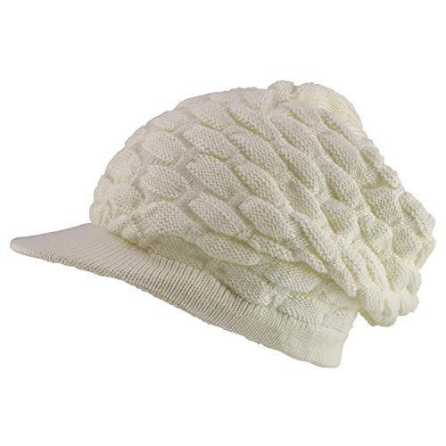 Armycrew Rasta RGY Ribbed Deep Crown Dreadlock Cotton Beanie Visored Hat - Cream