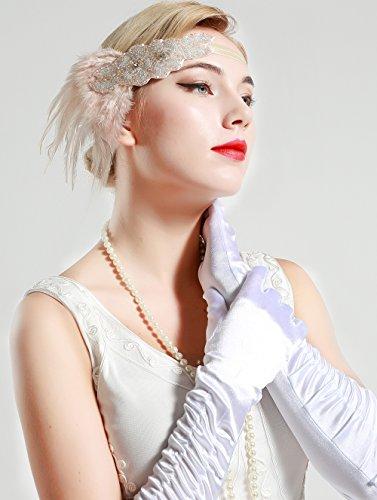 BABEYOND Frauen Kristall Haarband Perlen Stirnband Federn Flapper Stirnband Vintage Stirnband 1920 - 4