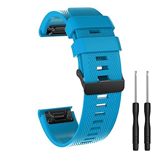 Para Garmin Fenix 5 banda de repuesto de silicona suave de ajuste rápido y fácil, 26MM,