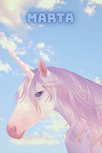 Marta: Diario segreto bambina unicorno è personalizzato con nome. Adatto a ogni ricorrenza. 120 pagine a righe. Formato 15x23cm (Diario dei sogni e della felicità.)