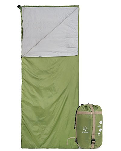 """REDCAMP Ultra Lightweight Sleeping Bag for Backpacking, Comfort for Adults Warm Weather, with Compression Sack Green (75""""x 32.5"""")"""
