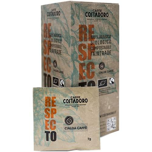 Costadoro Caffè - Cialde ESE 44mm in Carta Compostabile, Miscela Respecto, 100% Arabica, Biologico e Fairtrade - 18 pezzi