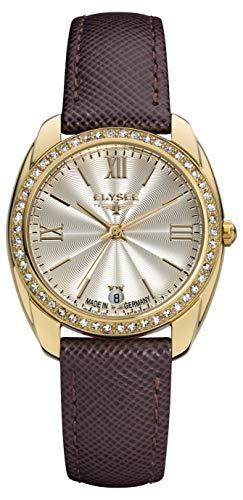 Elysee Damen Armbanduhr Diana Quarz Datumsanzeige mit hochwertigem Lederarmband (Gold/braun)