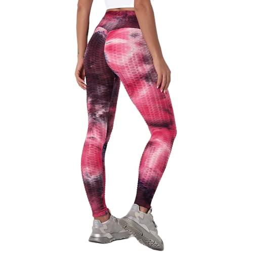 QTJY Pantalones de Yoga de Fitness de Color Tinta para Mujer, Pantalones Deportivos de Entramado de Colores para Mujer, Pantalones de Fitness de Secado rápido elásticos D L