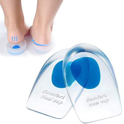 Gel Heel Cups, Silicone Heel Pads, U-Shaped Ergonomic Design, for Plantar Fasciitis, Bone Spurs and Achilles Tendon Pain, Shock Absorption Sole and Heel Cup for Foot Care