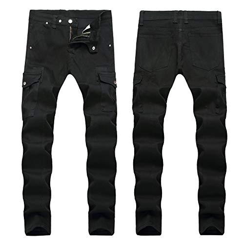 Vaqueros para Jeans Pantalones Pantalones Vaqueros para Hombre Pliegues Europeos Y Americanos Pantalones Vaqueros Ajustados para Hombre Pantalones De Moda con Múltiples Bolsillos P