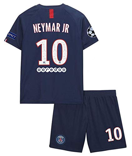 Paris Saint Germain 2019/2020 Season Kids/Youth Soccer #10 Neymar Home Jersey & Shorts & Armbands T-Shirts Size24 Blue