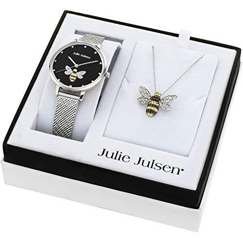 Julie Julsen Damen Armbanduhr und 925 Sterling Halskette mit Anhänger Bee Box Black mit Zirkonia Steinen - JJW1072SME-SET