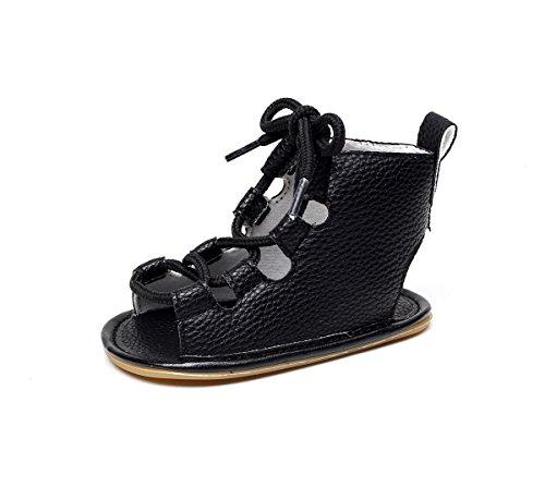 Sabe Sandales d'été à lacets pour petite fille 11–15 cm - Noir - a noir,