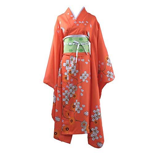 Danganronpa Cosplay Kimono Cosplay Halloween Adulto Anime Cosplay Impresión Kimono Vestido Naranja