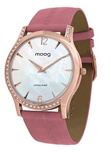 Moog Paris Crescent Reloj para Mujer con Esfera Nácar Blanca, Correa Rosa de Piel de Anguila y Cristales Swarovski - M44392-206