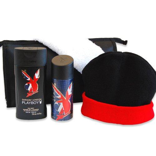 Handverpacktes Pflege-Set für Männer Swing Man mit Playboy Duschgel sowie Bodyspray dazu Kulturtasche