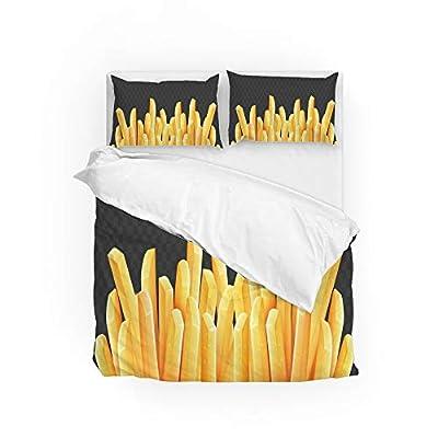 HAOXIANG Parure de lit 3 pièces avec housse de couette, frites, draps de lit doux et rétrécissant et résistant à la décoloration, Polyester, Comme sur la photo., King