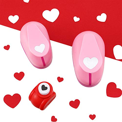Valentine's Day 3 Pieces Heart Punch Heart Paper Hole Punch Heart Shapes Punch 1 Inch 5/8 Inch 0.4 Inch Craft Lever Punch Handmade Paper Punch, Mini Craft Paper Punches, Pink, Red