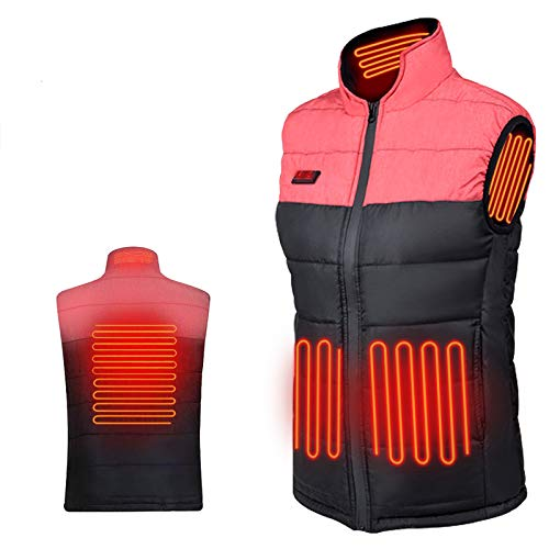 WANFEI Heated Vest for Women/Men, Lightweight Winter Warm Vests, Electric Waistcoat Women Men Heating Vest with USB Insert for Skiing Hiking Travel Fishing (Power Bank/Battery Not Included) (Red, M)