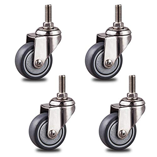 Castor Wheels Trolley Furniture Caster Sets of 4 Heavy Duty TPR Castor Wheels for Furniture,Trolley Moving Caster Wheels,Stainless Steel Swivel Casters,Replacement Casters,Gray,Threaded stem M10x25mm(